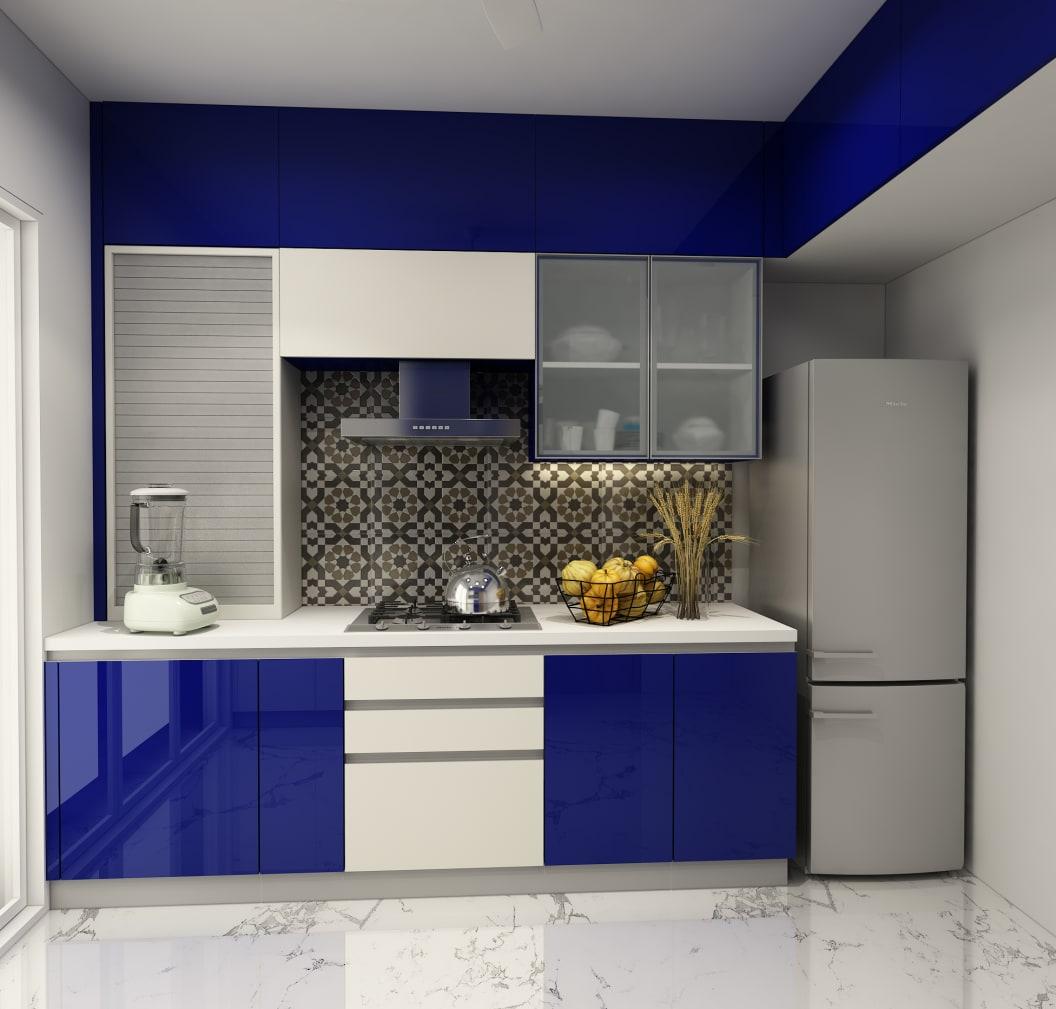 blue acrylic kitchen cabinet design