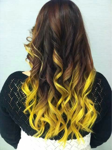 Yellow Ombre Hair Highlights