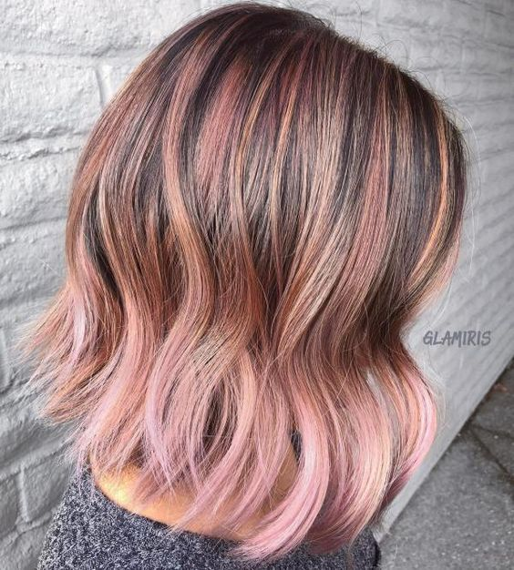 pastel pink babylights for blonde hair