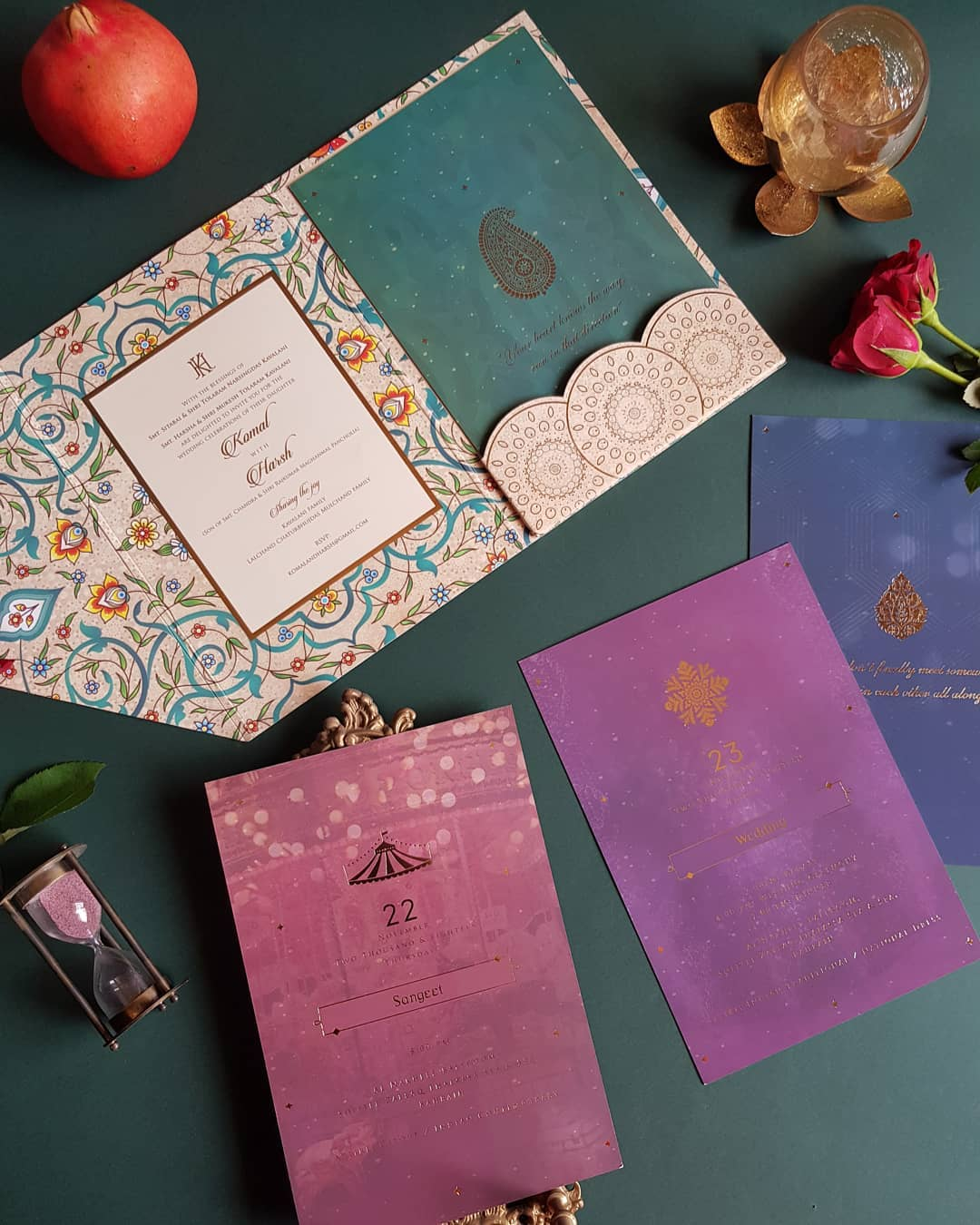 indian wedding cards design - with decor elements and arabic motifs incorporated in a destination wedding invite in teal, wisteria and purple shades