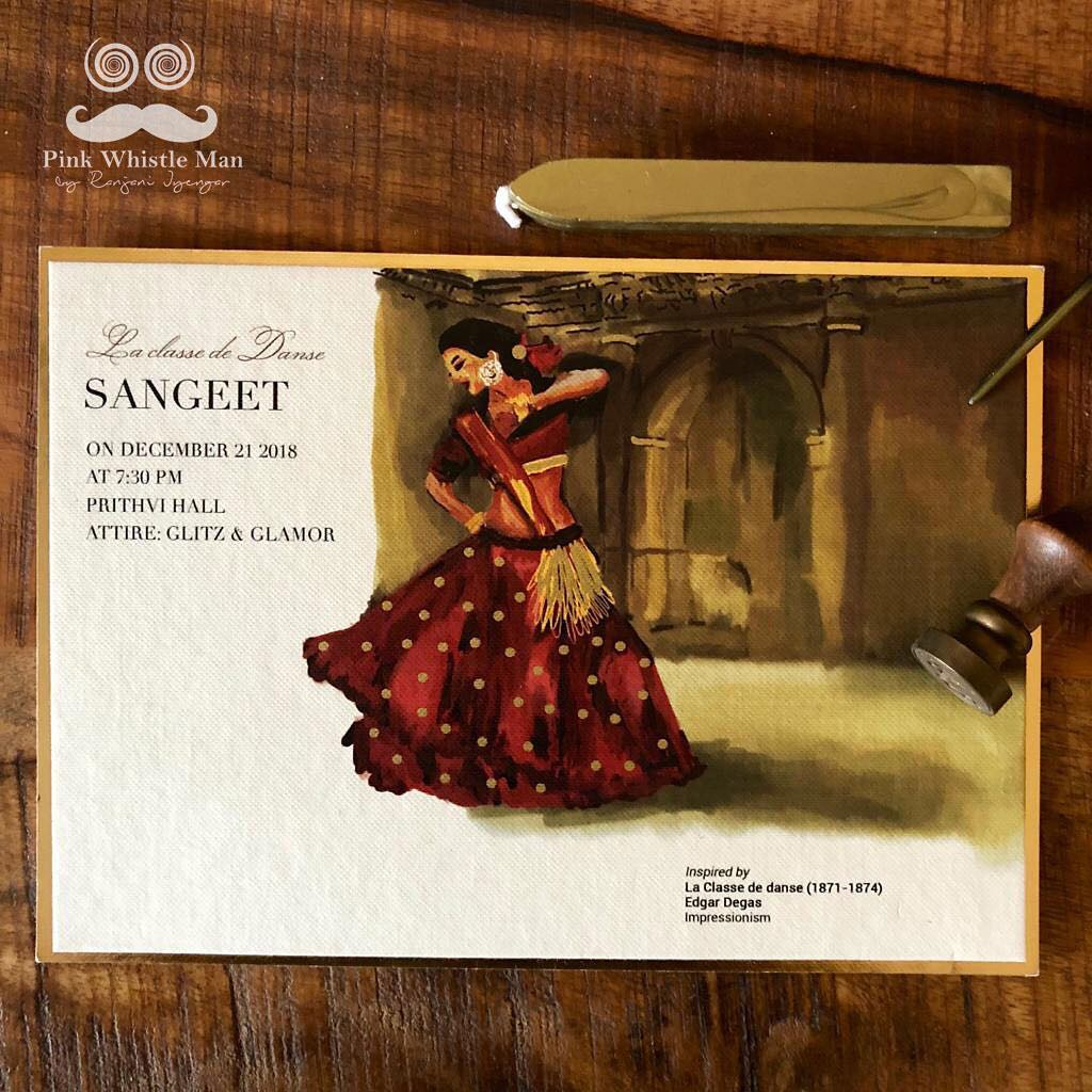Unique Indian wedding invite design - illustrated with a woman dancing for a Sangeet insert - artwork paying homage to famous artist Edgar Degas