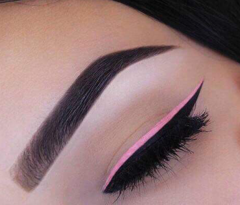 Soft pink matte eyeliner on black liner
