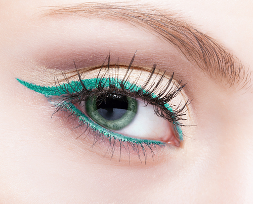 Turquoise colored eyeliner