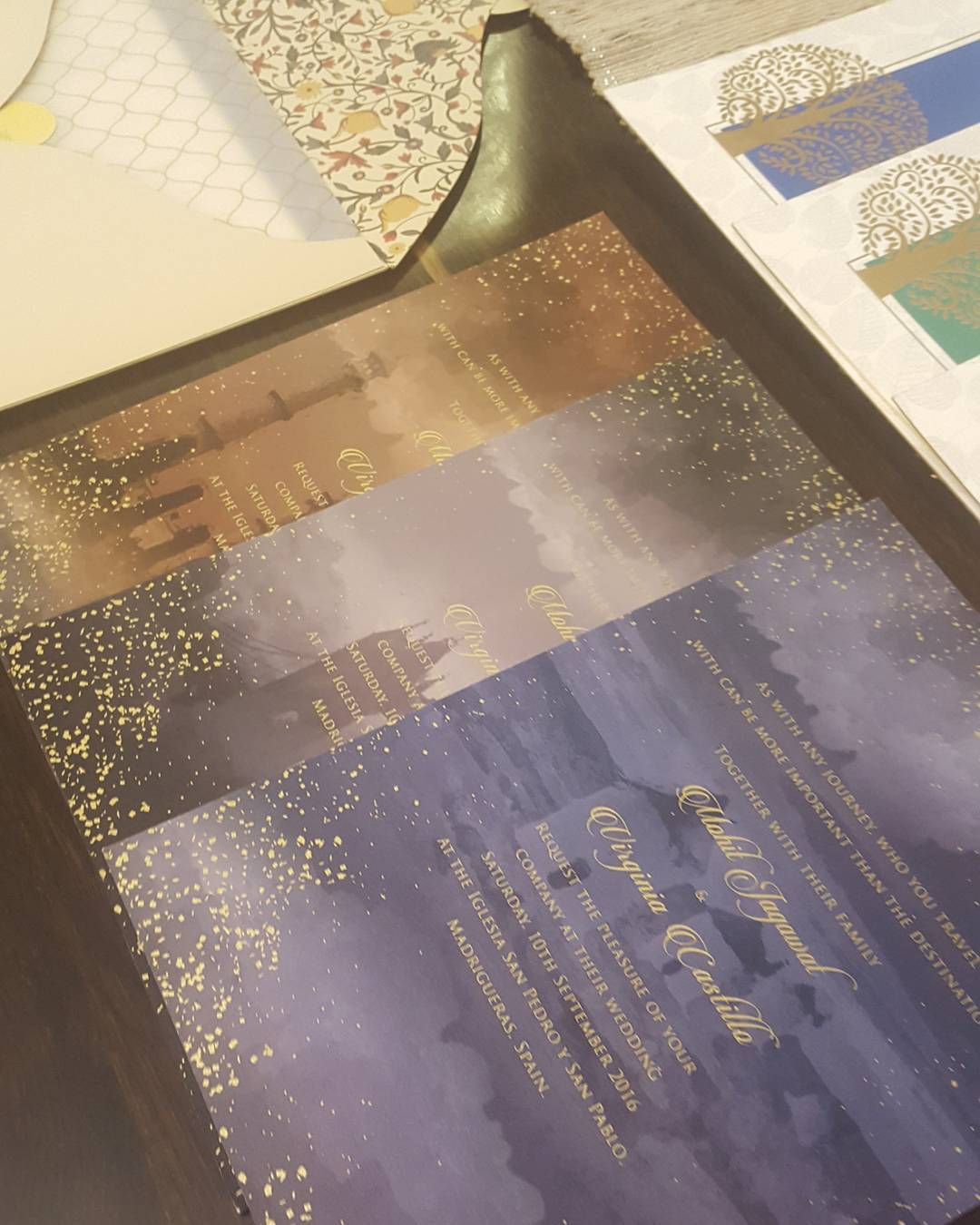 Wedding Card Design in shades of dusk and gold foil splatter