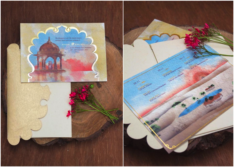 best wedding card design with watercolour painting and lasercut envelope lid