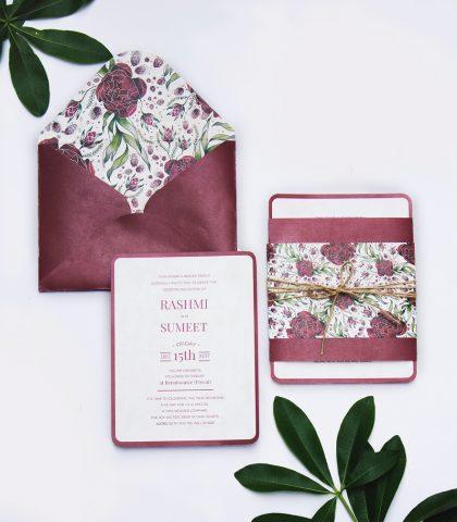 burgundy floral wedding invitation with floral envelope lining and simple elegant insert