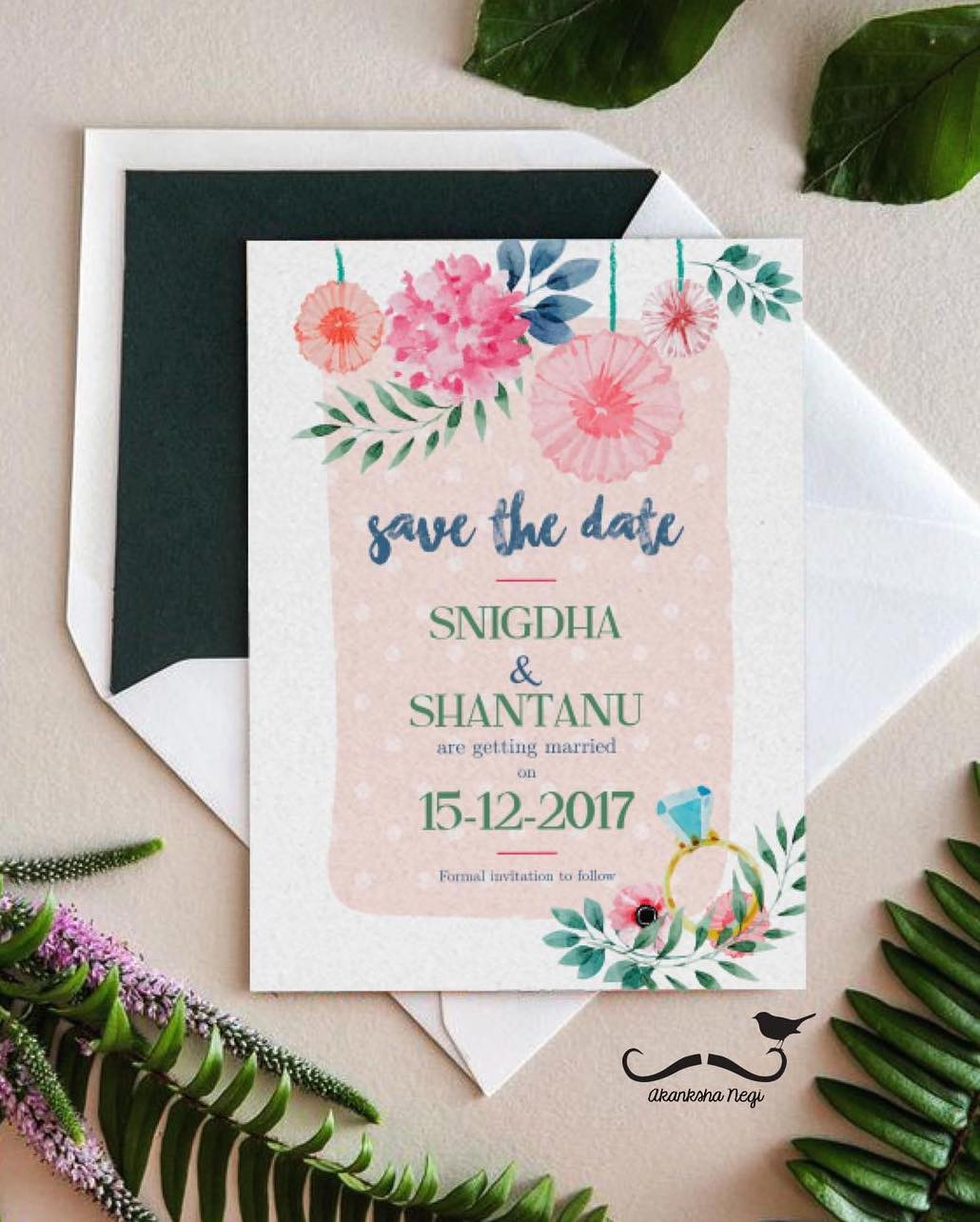 floral watercolour save the date invitation