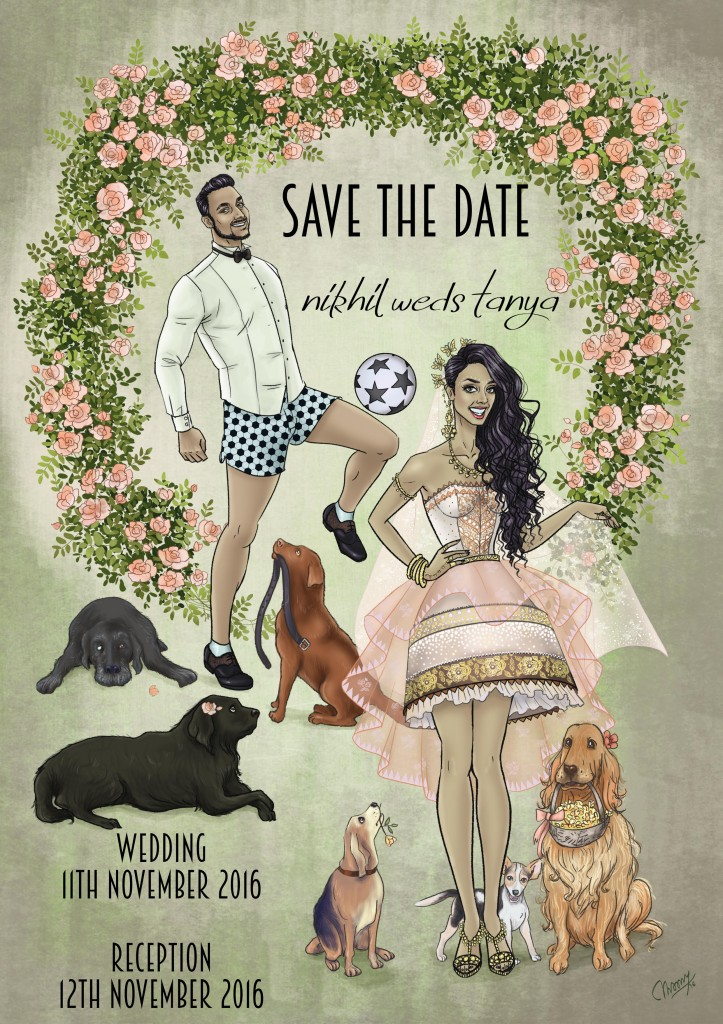 unique illustration of couple on save the date invite for Indian wedding