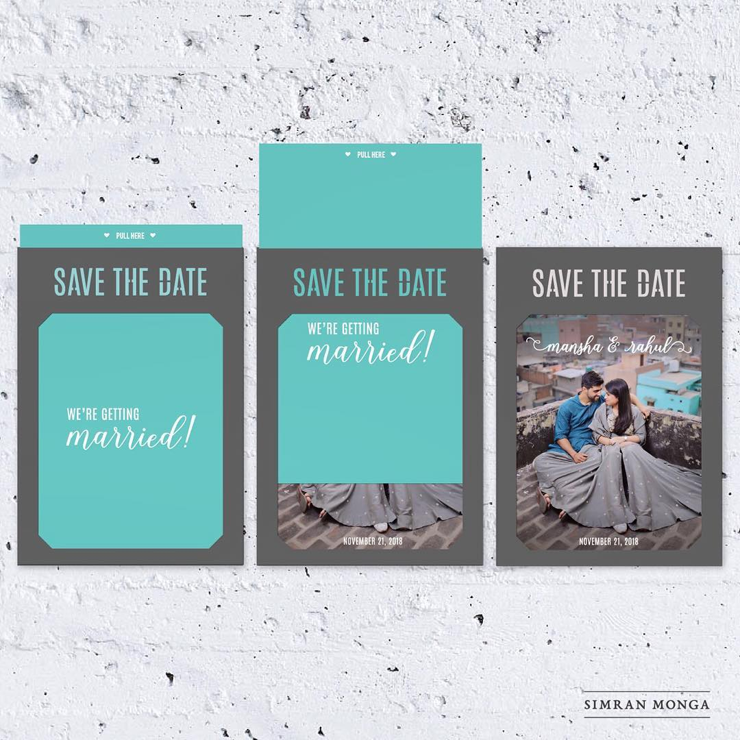 unique save the date wedding invitation with pull out sheet and photo of the couple