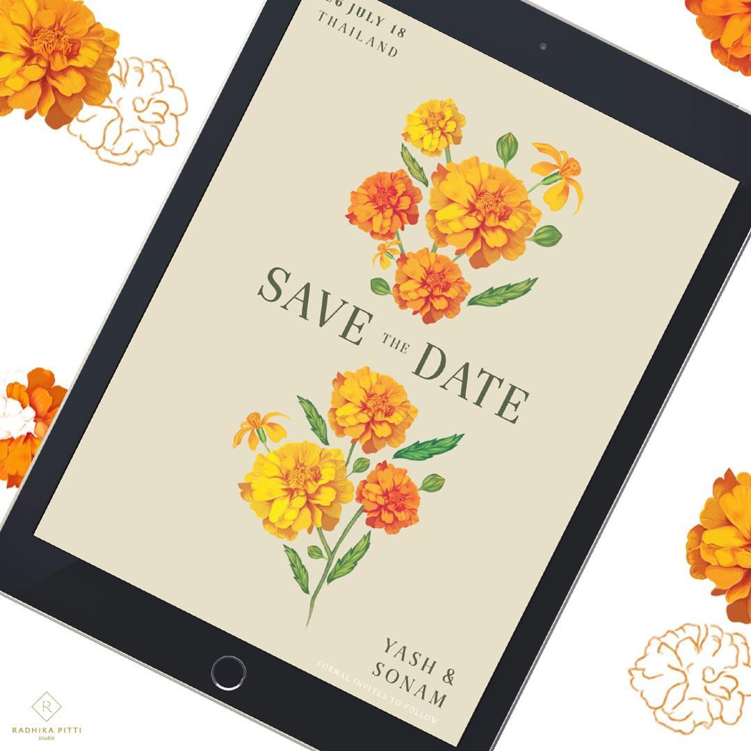 traditional marigold save the date e-vite to Thailand destination wedding