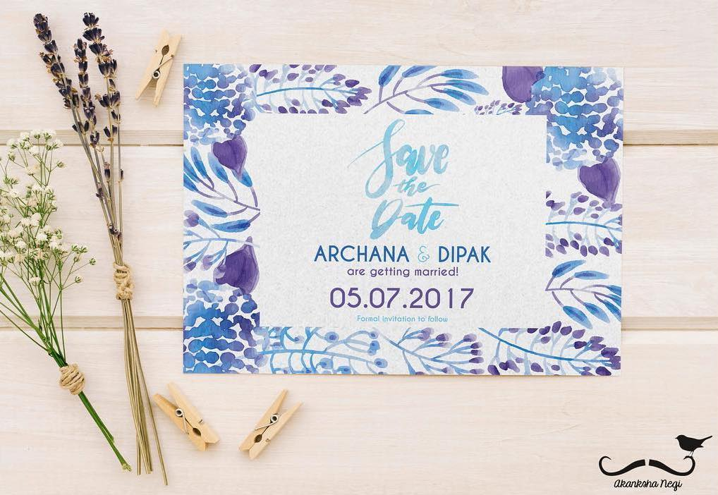 watercolour blue and purple simple save the date wedding invite