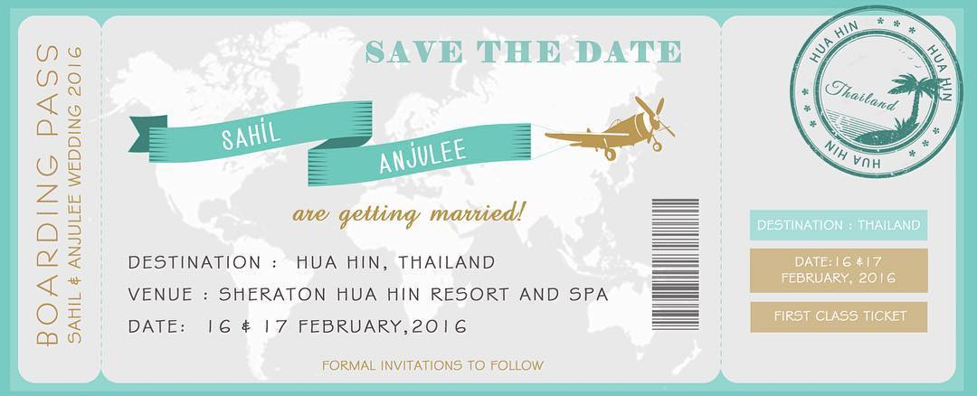 boarding pass save the date invite for Thailand destination wedding