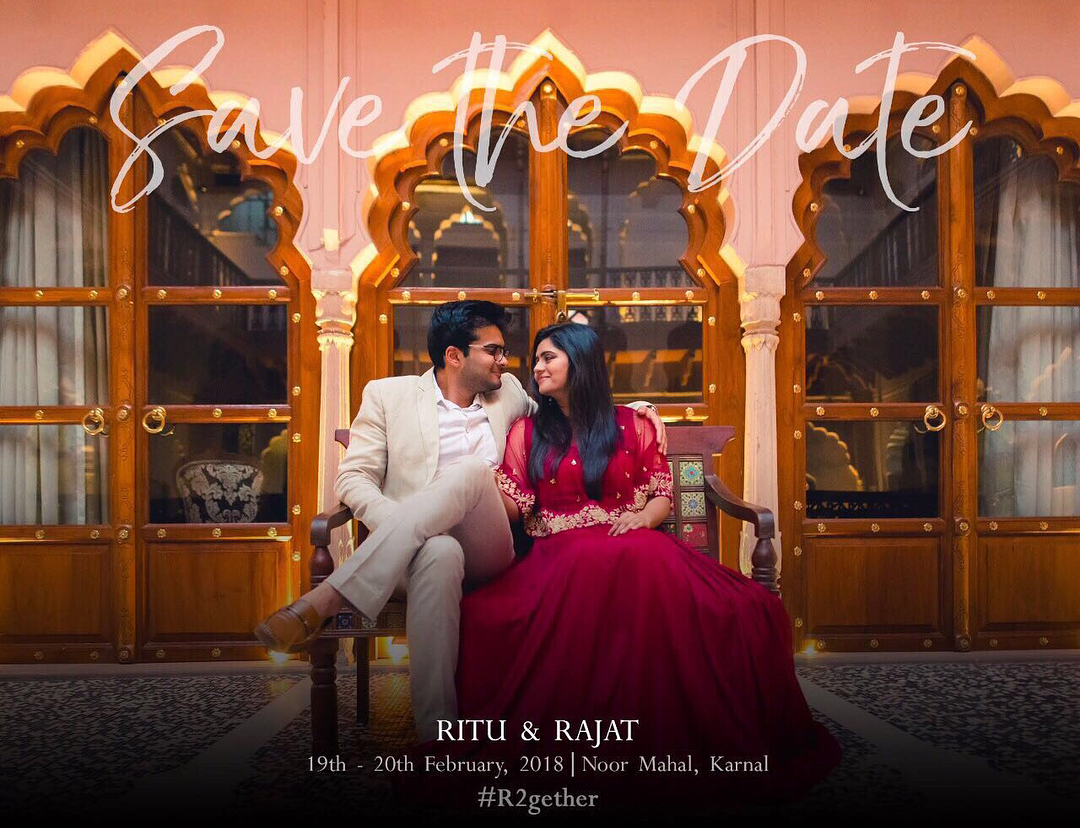 save the date wedding invitation with photo of couple
