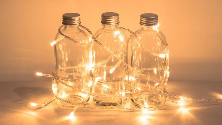 fairy lights in bottles