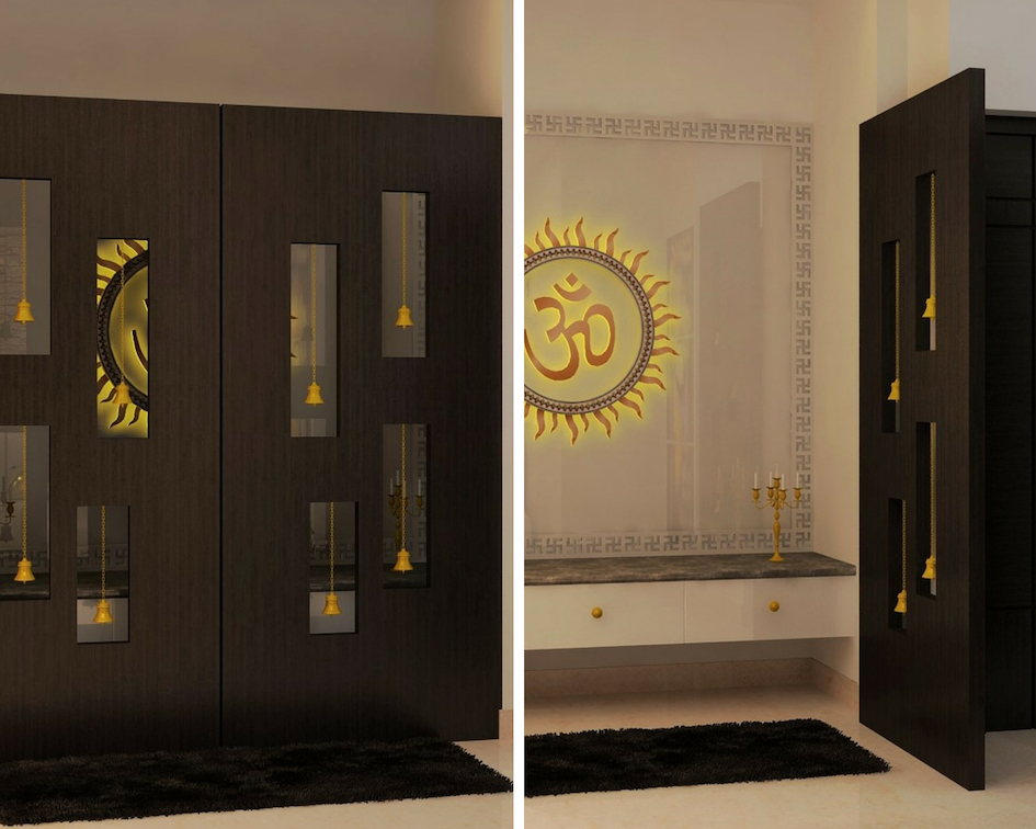 pooja room door designs with bells