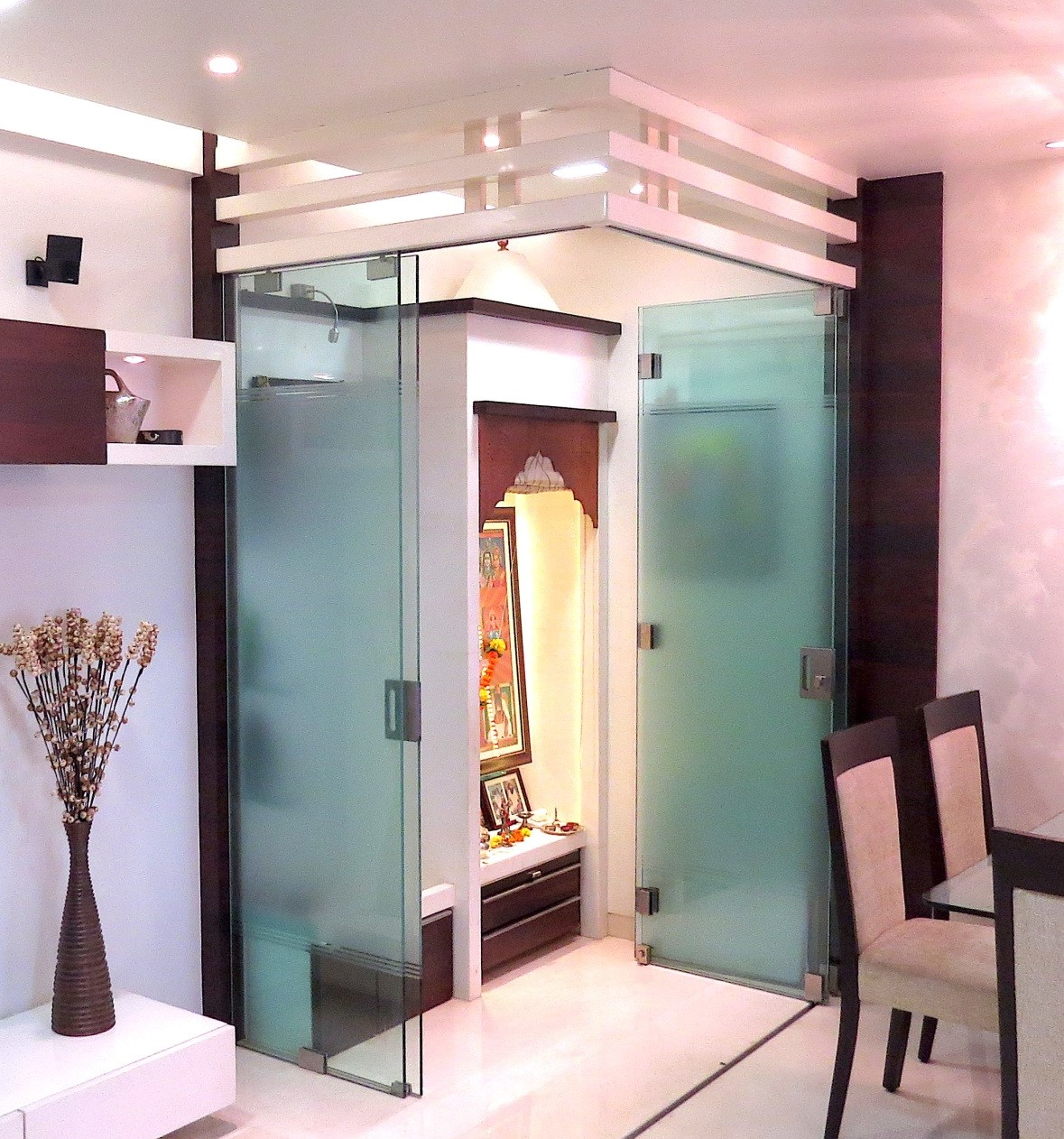 frosted glass pooja room door designs