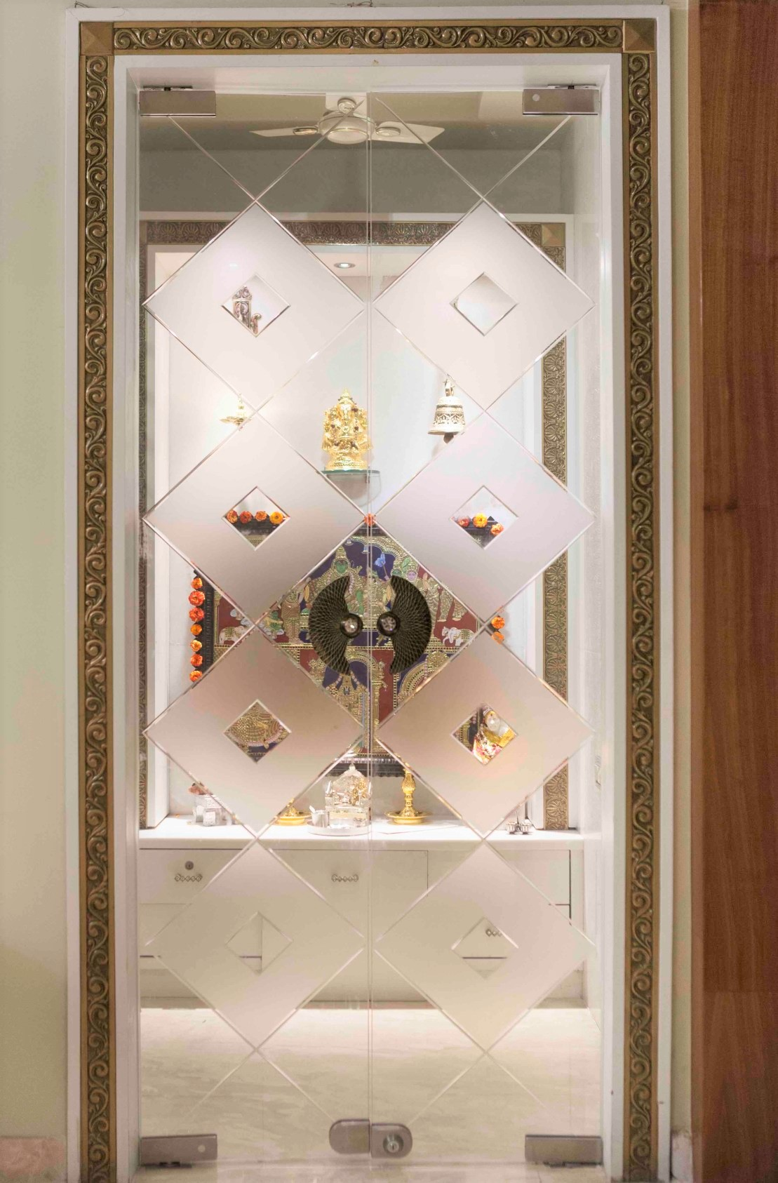 glass pooja room door designs