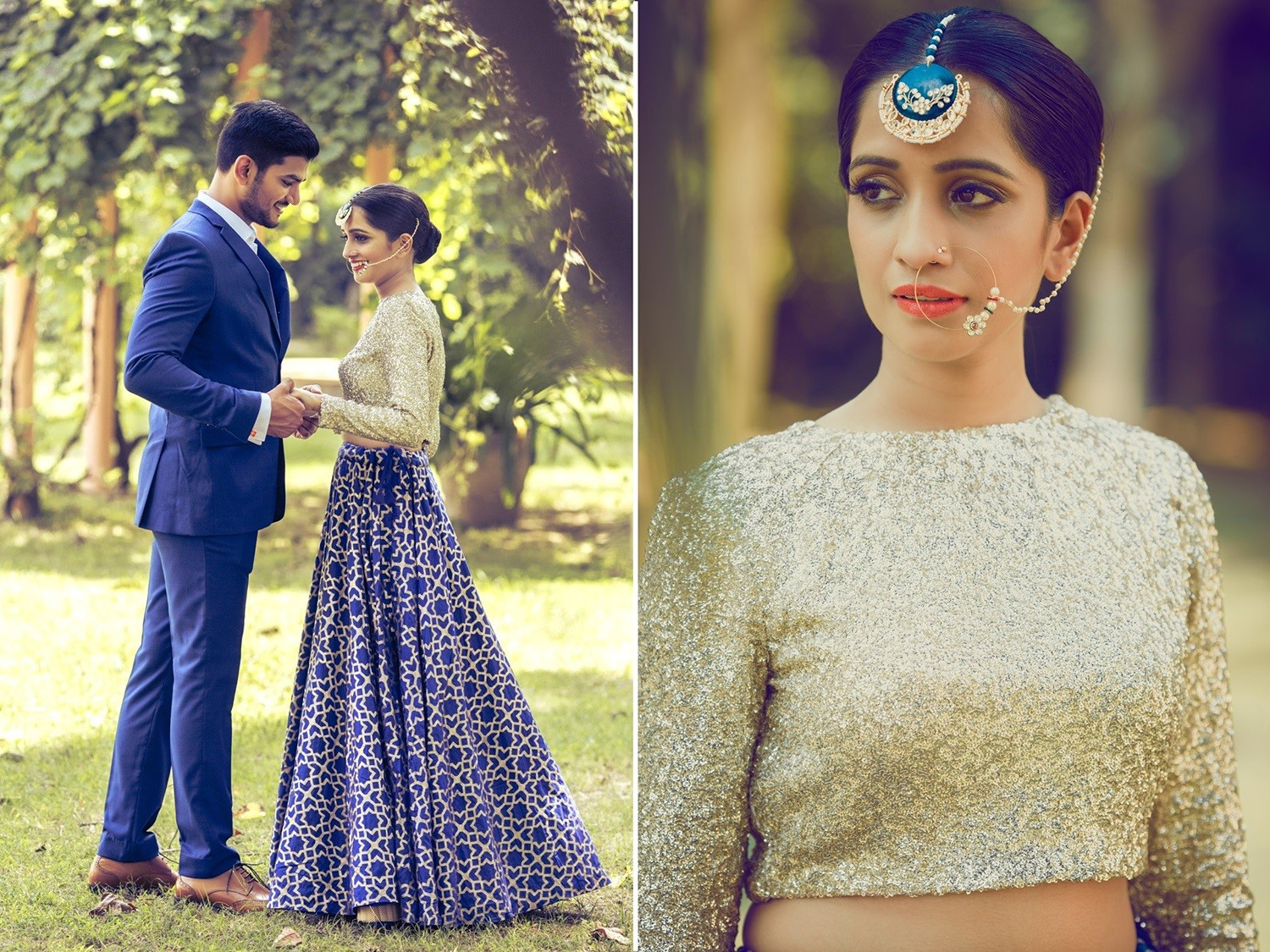 unique maang tikka design worn by bride with blue lehenga and delicate nath