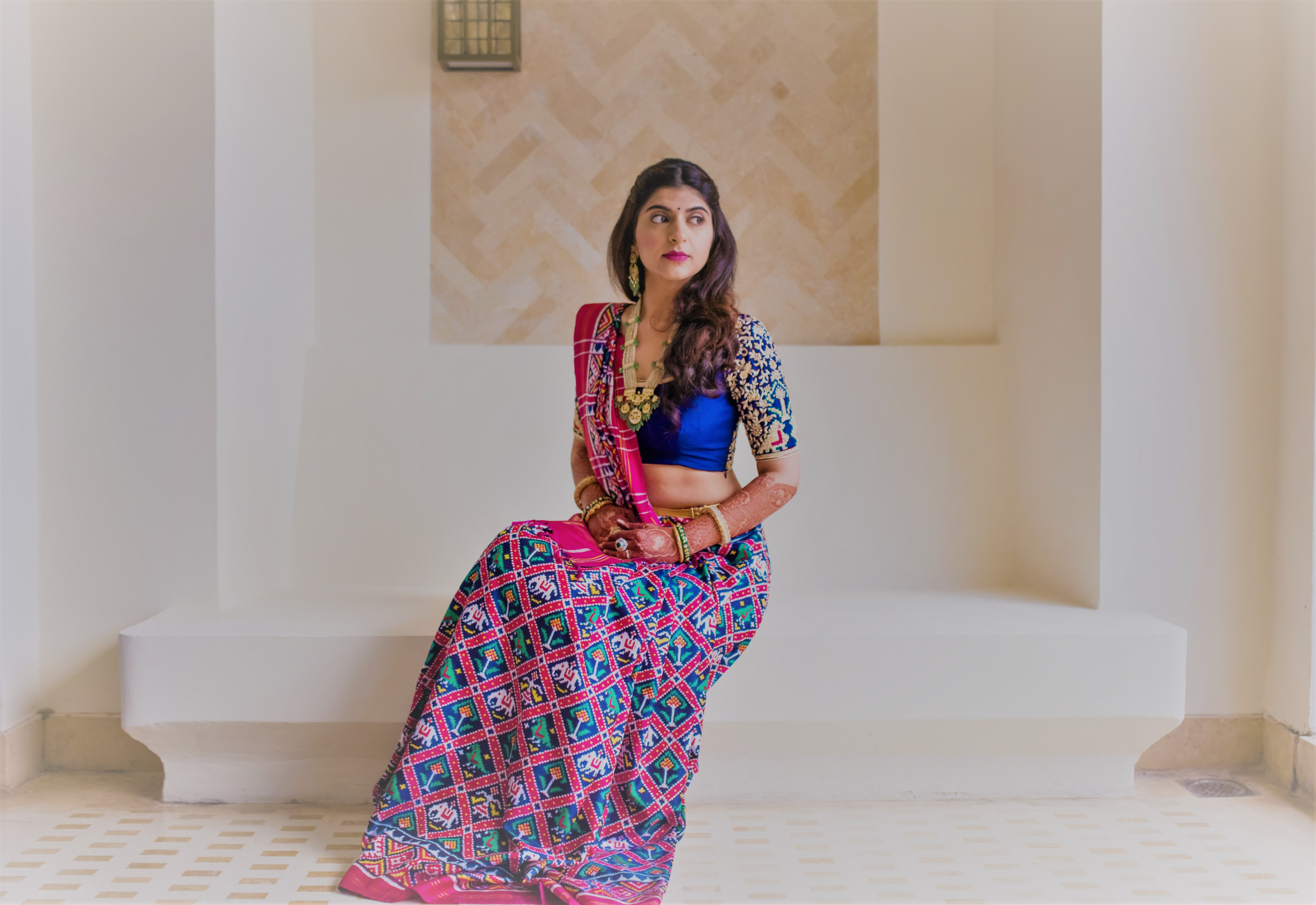 unique pink and blue lehenga for bride to wear on a small wedding function