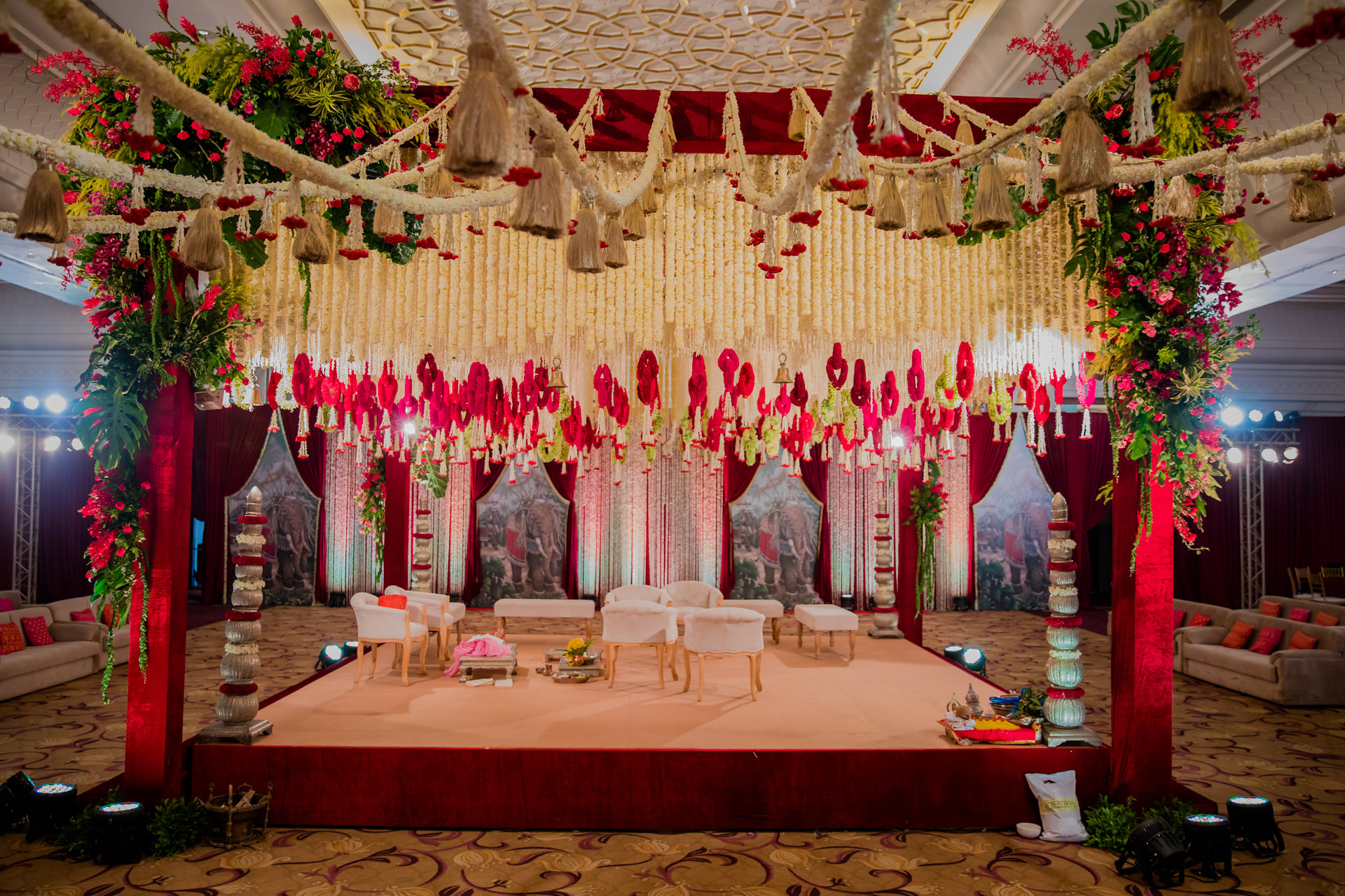 white and red mandap decor idea