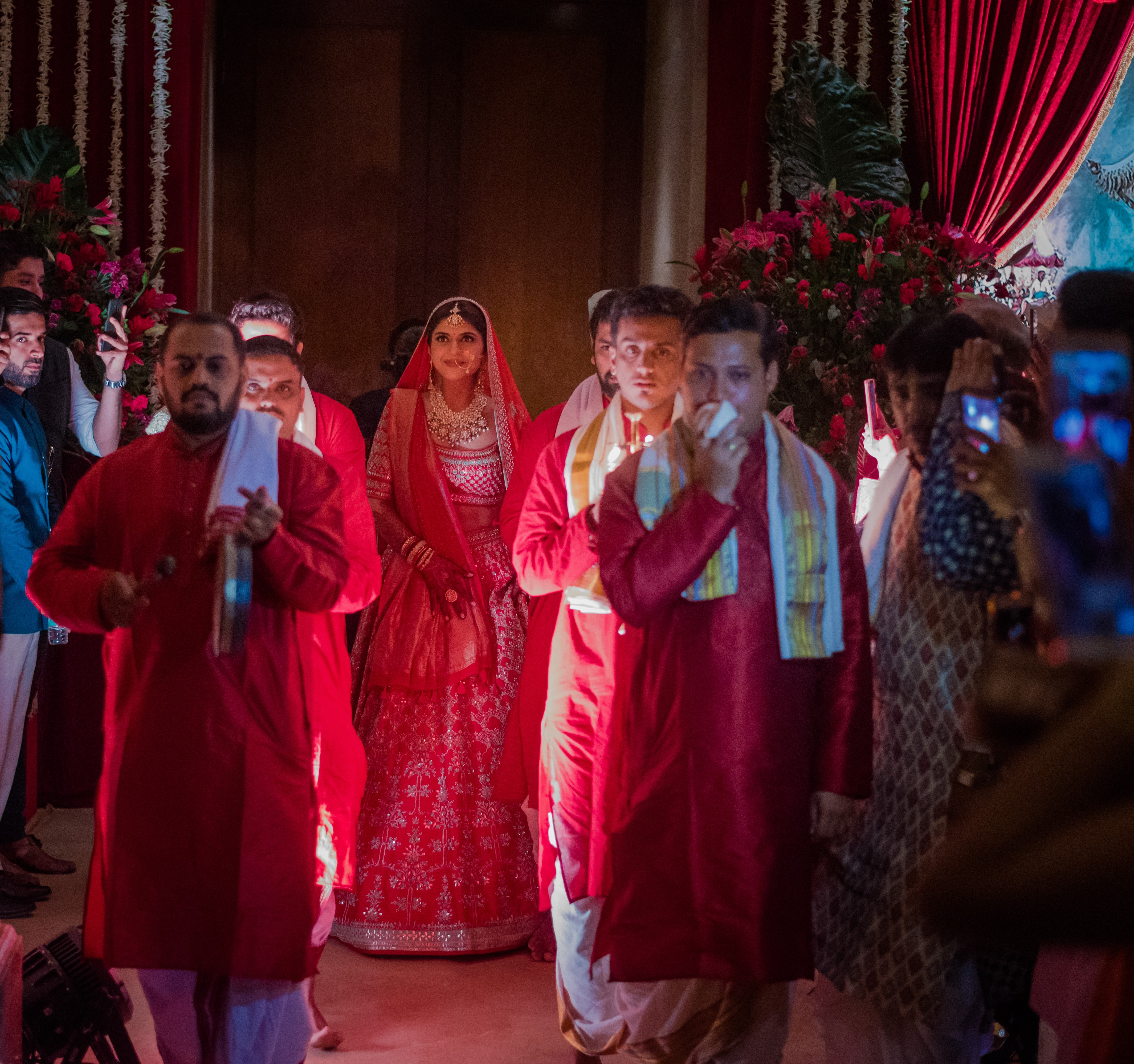 wedding bride entrance with pandits chanting - traditional idea