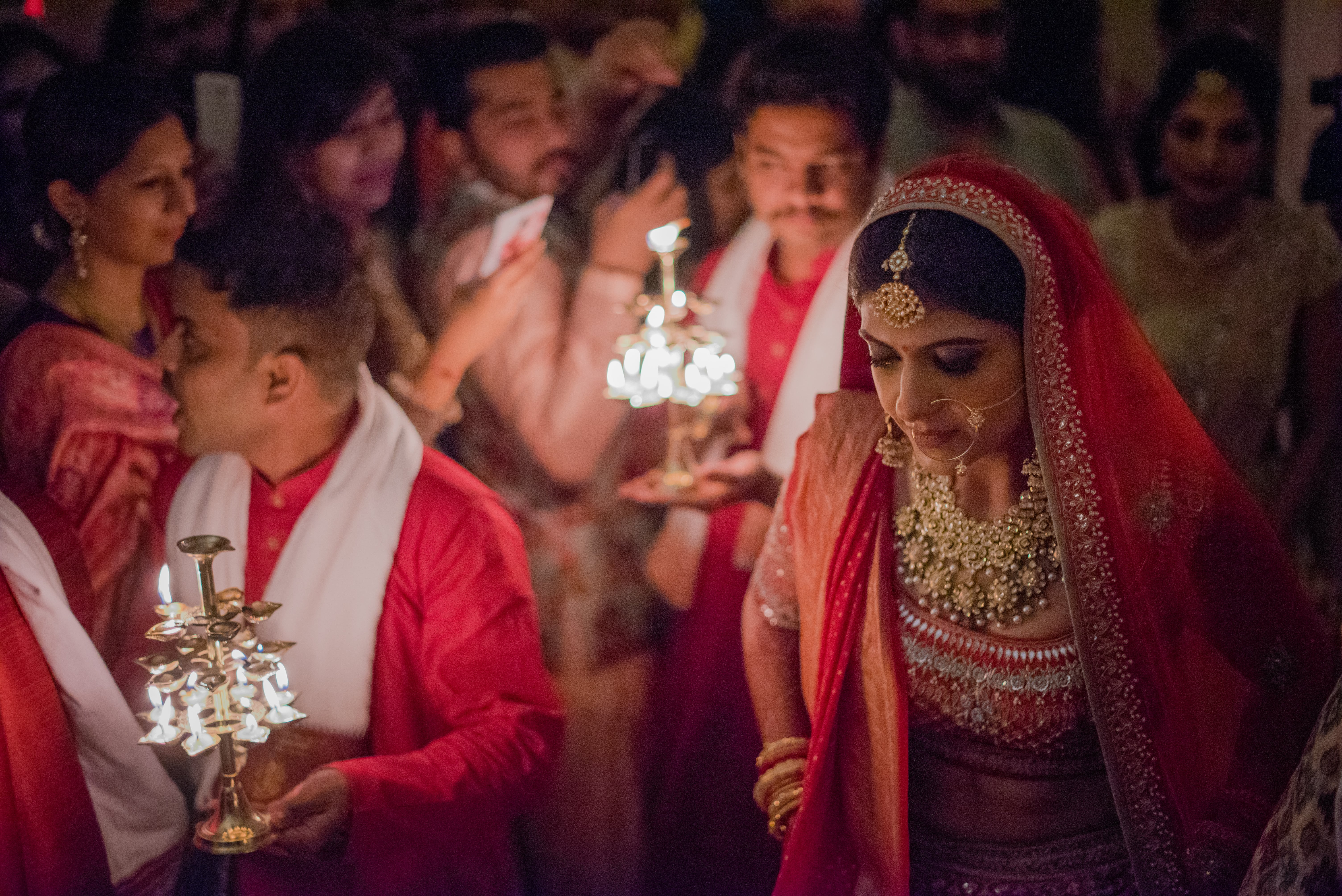 bridal entry idea - with pandits holding aarti diyas