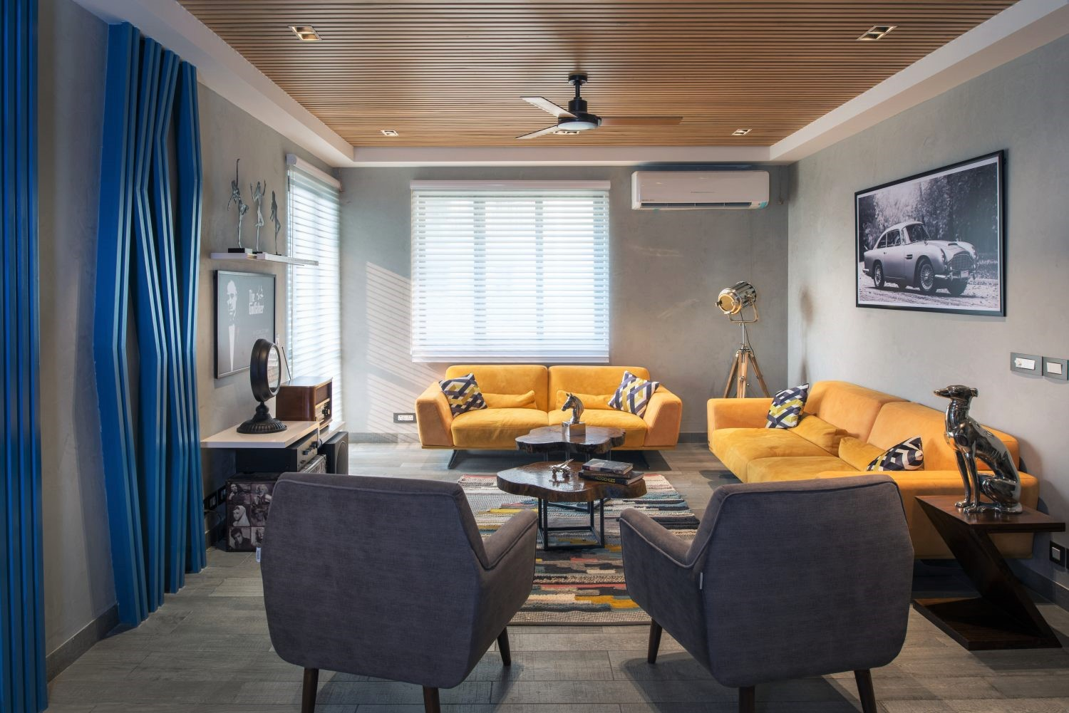 grey and yellow living room colors