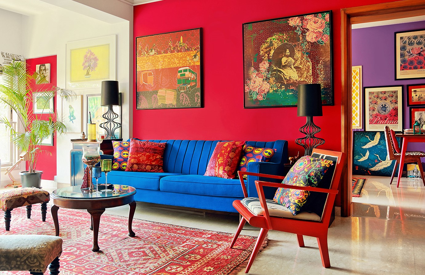 red and blue living room colours