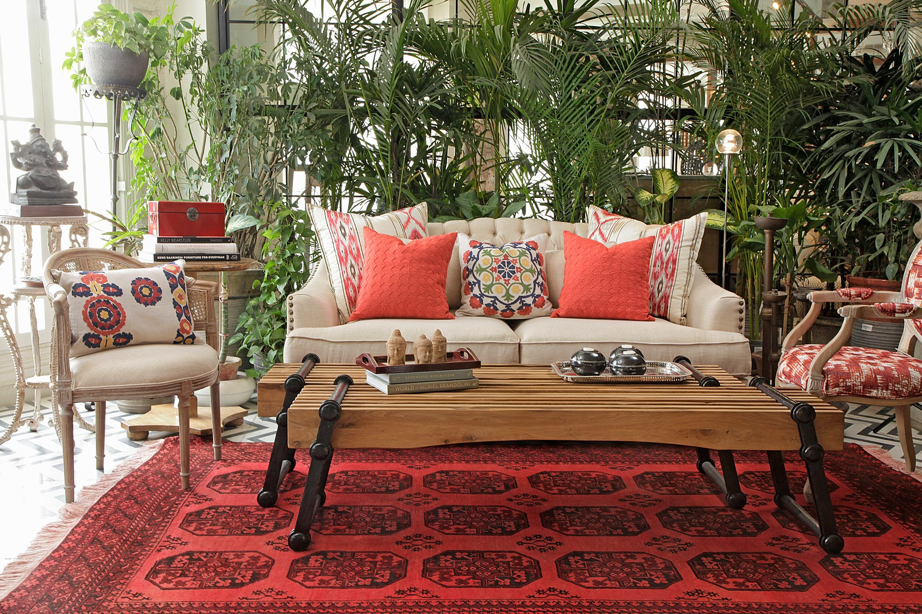 red and beige living room colors