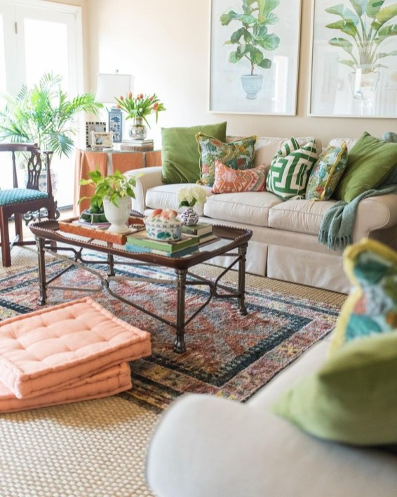 green and peach living room colors