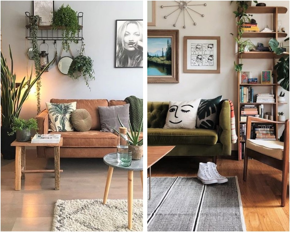 green and brown living room colors