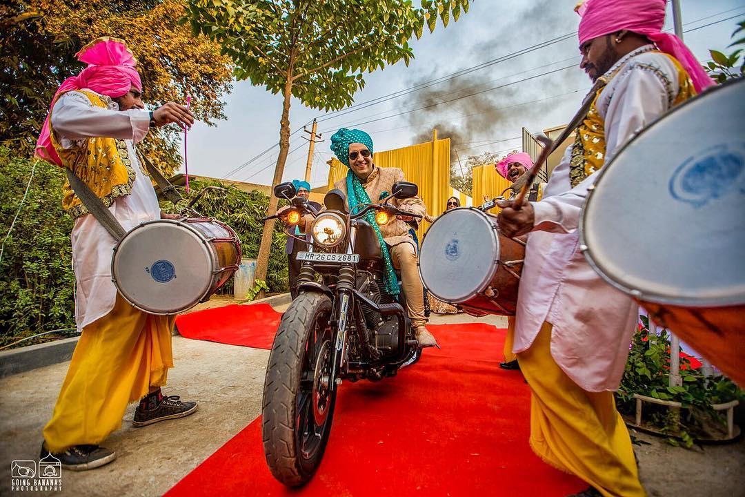 groom entry ideas - on a Harley bike
