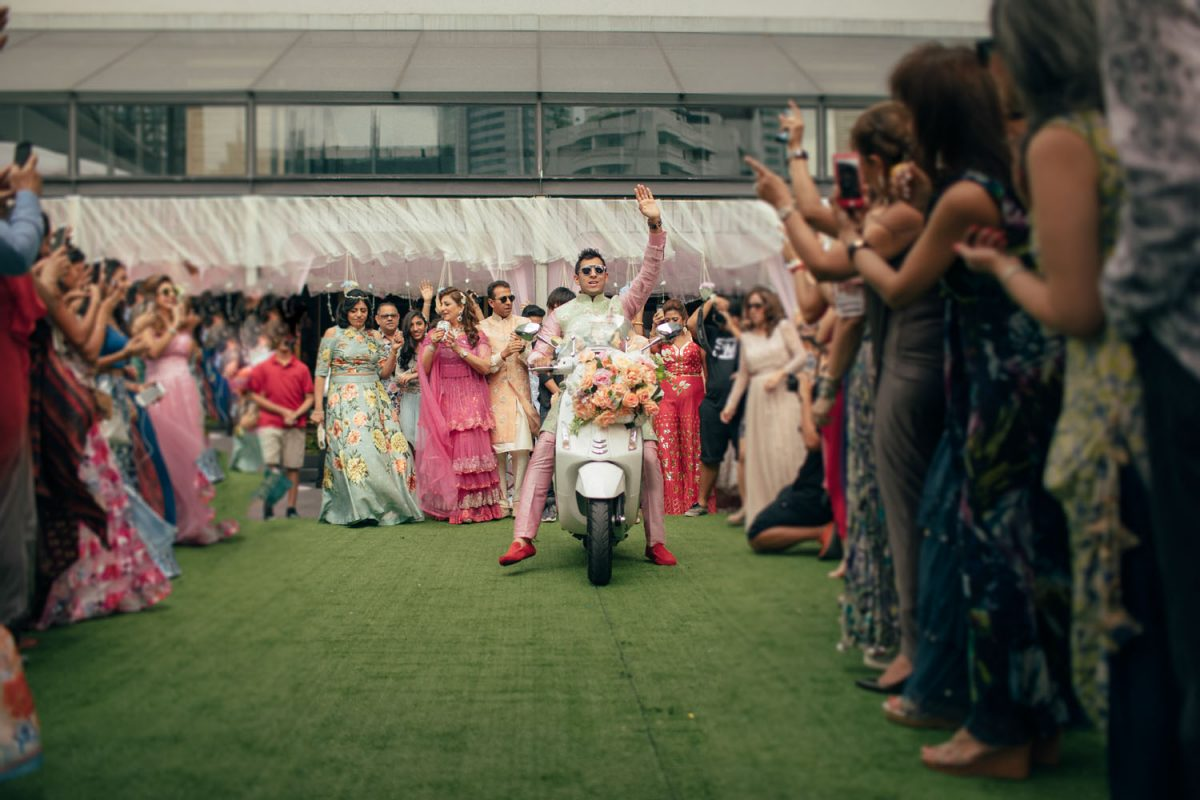 groom entry ideas - on a scooter at his Mehendi ceremony