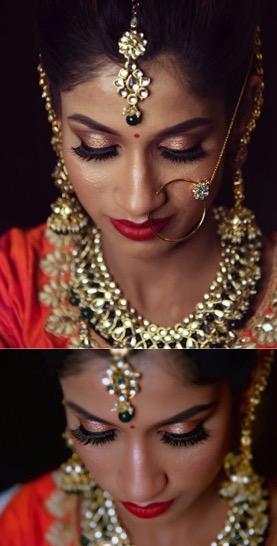 bridal makeup for dark skin - metallic eyeshadow with red lipstick