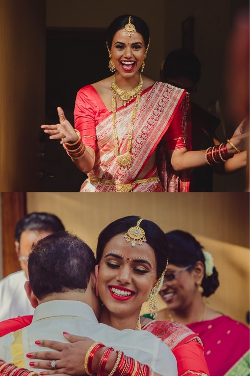 bridal makeup for dark skin - bride is wearing red lipstick with red sari