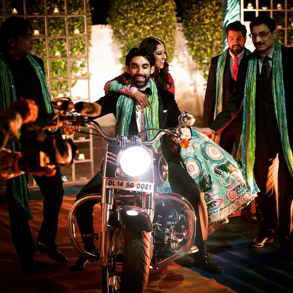 grand entry of bride on bike