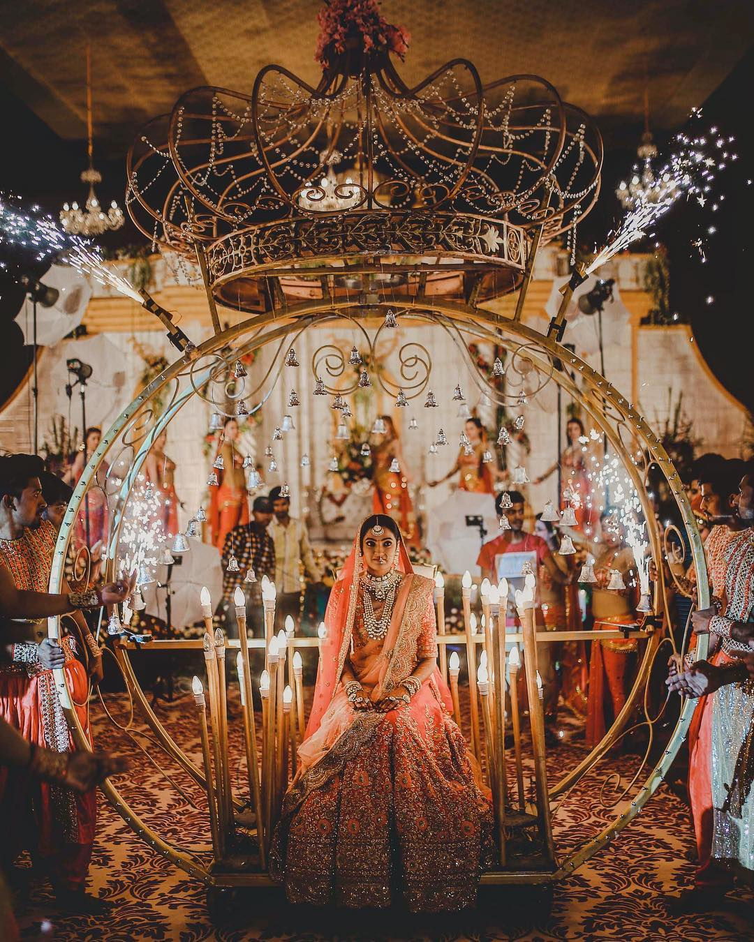 Palki bride entry theme - princess entry with a rolling fairytale like palki that's lit up with sparklers and lights
