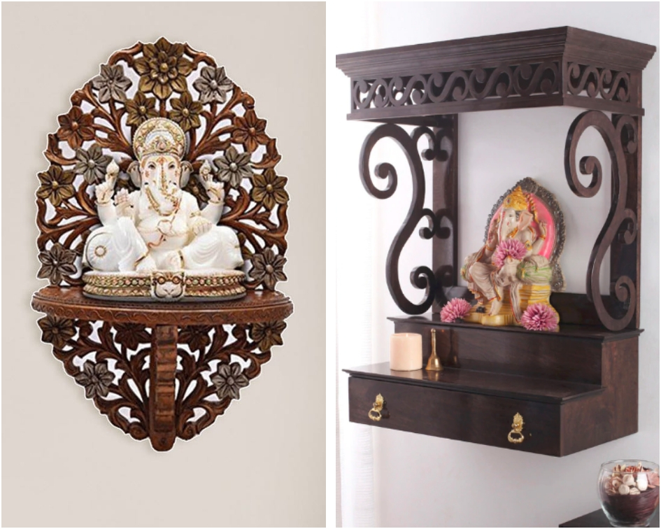 wall mounted pooja shelf
