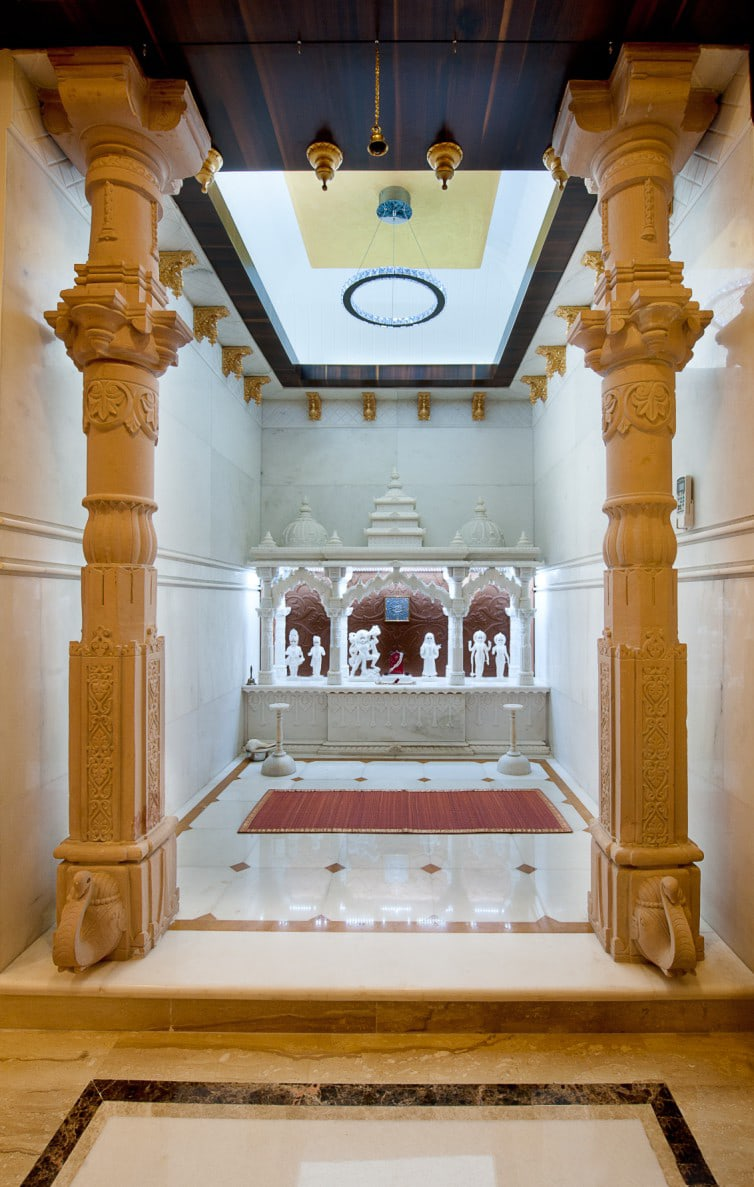 marble mandir design with pillars and columns