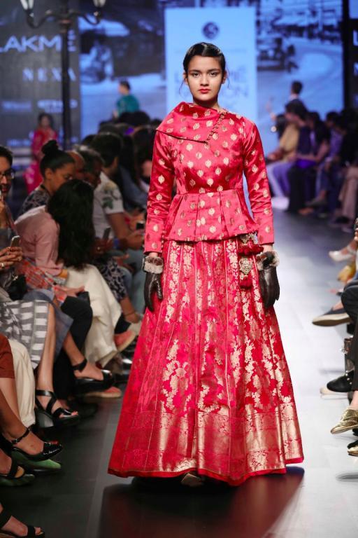 Peplum jacket style blouse design in benarsi silk brocade fabric with benarsi silk pink lehenga