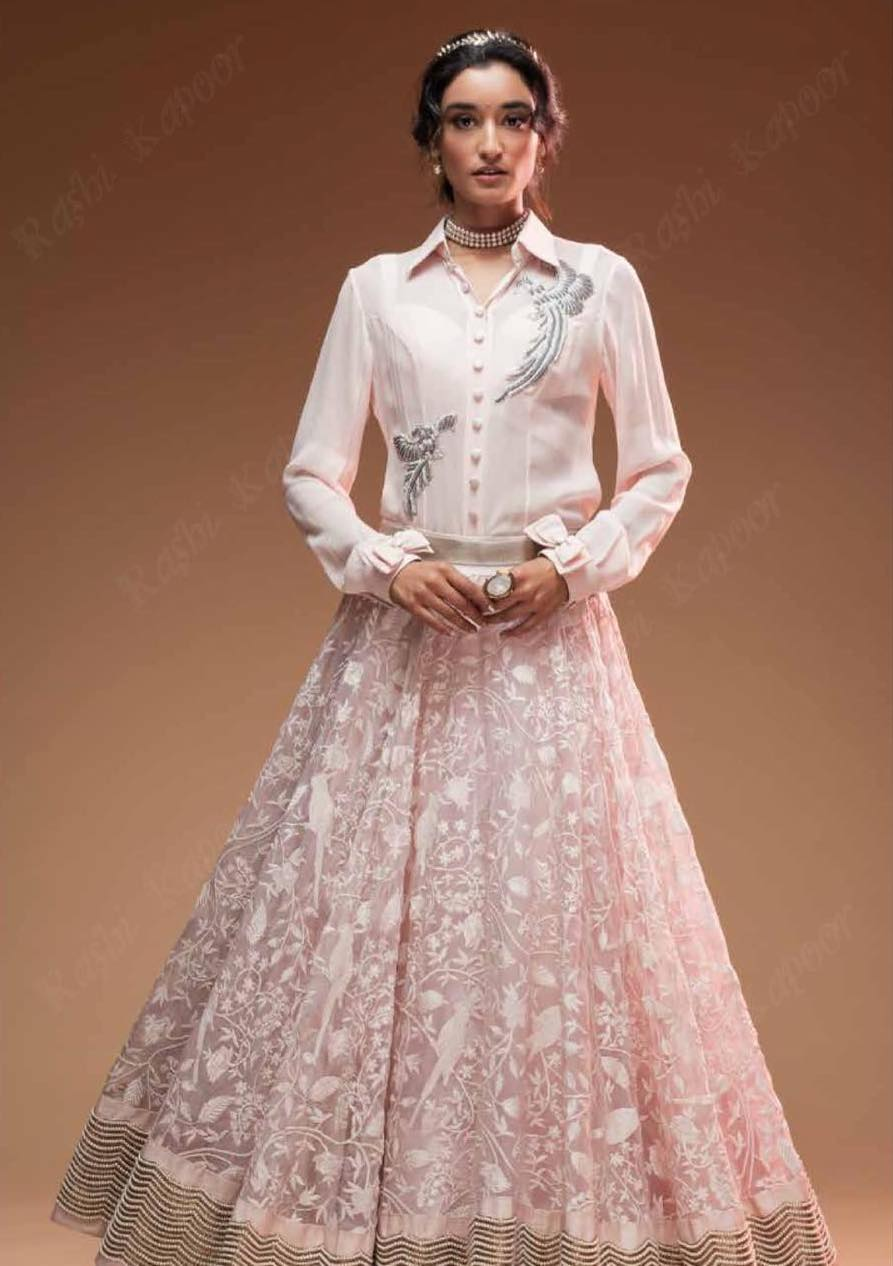 Organza bird embroidered skirt finished with scallop gold and pearl border teamed with bird appliquéd georgette blouse - Rashi Kapoor