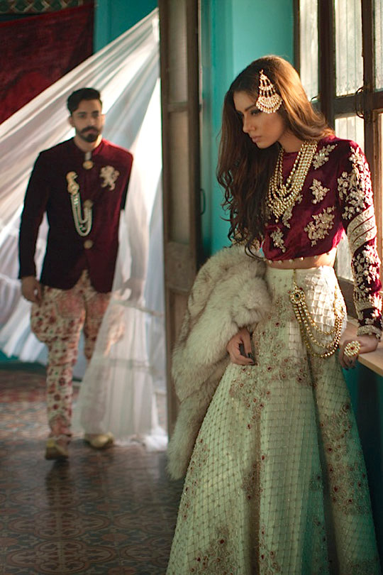 Velvet full sleeve blouse with fur dupatta - winter wedding outfit for Indian wedding