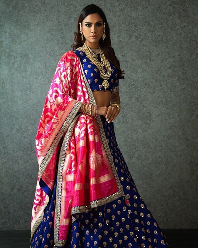 Indigo blue lehenga with fuschia pink dupatta in silk - Benzer Mumbai