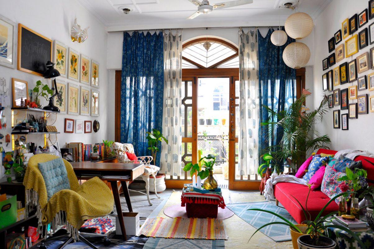 maximalist interior design in a small apartment