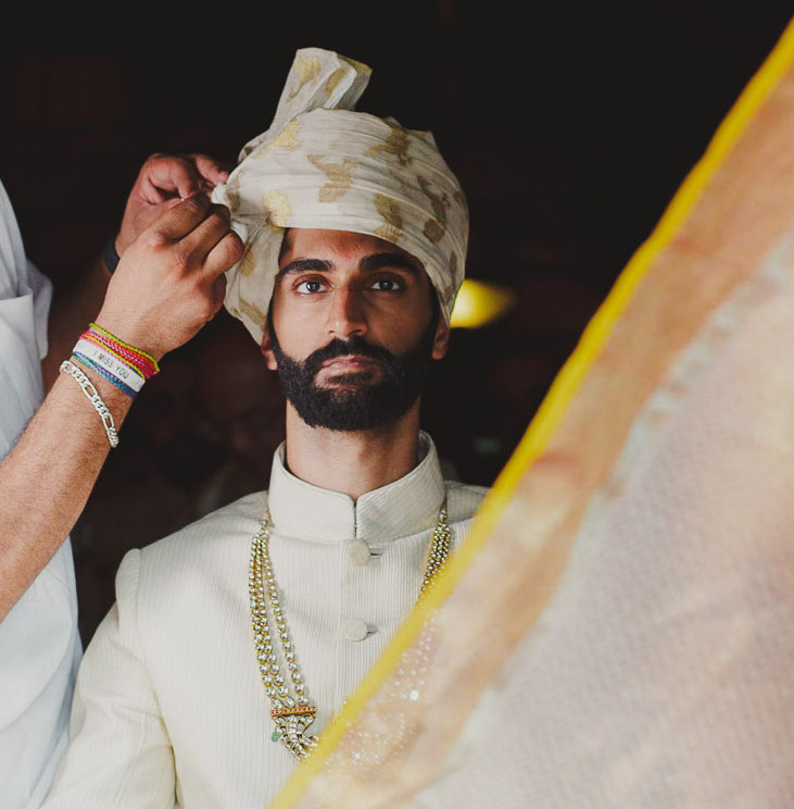 Peacock print white and gold Groom turban